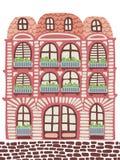 dekorativt hus stock illustrationer