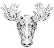 Dekorativt huvud av den i lager vektorillustrationen för älg stock illustrationer