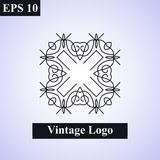 Dekorativt islamiskt emblem för tappning vektor för illustration för designelement blom- Geometriskt symbol för art déco Linje gr stock illustrationer