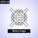 Dekorativt islamiskt emblem för tappning vektor för illustration för designelement blom- Geometriskt symbol för art déco Linje gr vektor illustrationer