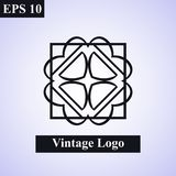 Dekorativt islamiskt emblem för tappning vektor för illustration för designelement blom- Geometriskt symbol för art déco Linje gr royaltyfri illustrationer
