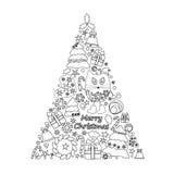 Dekorativt isolerat träd för jul materiel stock illustrationer