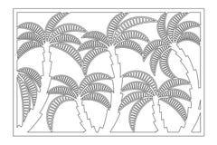 Dekorativt kort för att klippa Palmbladmodell Laser-snittpanel Förhållande2:3 också vektor för coreldrawillustration stock illustrationer
