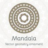 Dekorativt kort för vektor med den etniska mandalaen Dekorativ bakgrund för tappning Royaltyfri Fotografi