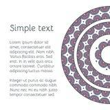 Dekorativt kort för vektor med den etniska mandalaen Dekorativ bakgrund för tappning Arkivbilder