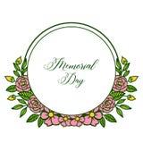 Dekorativt kort för vektorillustration av minnesdagen med den runda rosa blommaramen vektor illustrationer