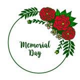 Dekorativt kort f?r vektorillustration av minnesdagen med den runda f?rgrika kransramen royaltyfri illustrationer