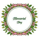 Dekorativt kort f?r vektorillustration av minnesdagen med den runda rosa blommaramen vektor illustrationer