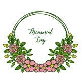 Dekorativt kort f?r vektorillustration av minnesdagen med den runda rosa blommaramen royaltyfri illustrationer