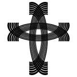 Dekorativt kristet kors som dras av svarta bågar stock illustrationer