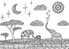 Dekorativt landskap med elefanter vektor illustrationer
