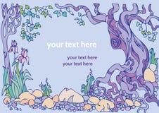 Dekorativt landskap med träd, blommor och stenar Arkivfoton