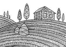 Dekorativt lantligt landskap royaltyfri illustrationer