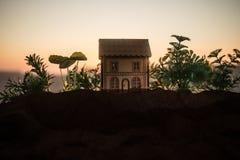 dekorativt litet trähus på solnedgångbakgrunden royaltyfria bilder