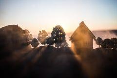 dekorativt litet tr?hus p? solnedg?ngbakgrunden royaltyfri fotografi