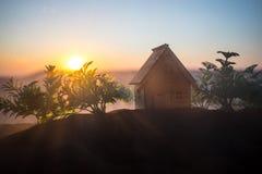 dekorativt litet tr?hus p? solnedg?ngbakgrunden fotografering för bildbyråer