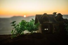 dekorativt litet tr?hus p? solnedg?ngbakgrunden arkivfoto