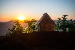 dekorativt litet tr?hus p? solnedg?ngbakgrunden royaltyfri bild