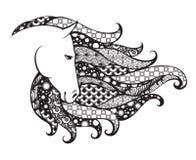 Dekorativt mönstrat huvud av hästen Illustration för Zentangle klottervektor Svartvitt diagram stock illustrationer