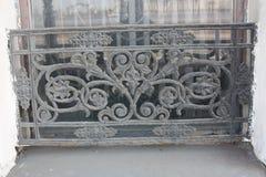 Dekorativt metallraster med blommor royaltyfria foton