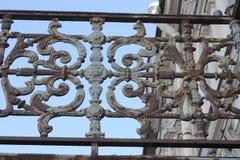 Dekorativt metallraster med blommor arkivbilder