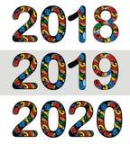 Dekorativt nytt år 2018, 2019, 2020 vektordesign Fotografering för Bildbyråer