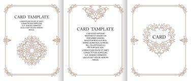 Dekorativt ram för vektor eller födelsedag- och hälsningkort som gifta sig inbjudan royaltyfri illustrationer