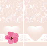 Dekorativt rosa baner med hjärta och blomman Arkivbild