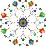 Dekorativt runt blom- snör åt modellen Arkivbilder