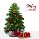 Dekorativt sörja trädet för lyckligt nytt år och glad jul som hälsar bakgrund vektor illustrationer