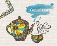 Dekorativt skissa av koppen och tekannan vektor illustrationer