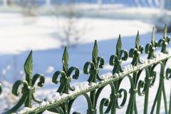 Dekorativt staket för grön metall i snön royaltyfri foto