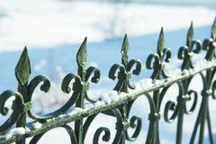 Dekorativt staket för grön metall i snön royaltyfri bild