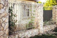 Dekorativt staket för metall med dörren och port av det moderna staketet Ideas för stildesignmetall fotografering för bildbyråer