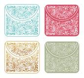 Dekorativt stiliserat kuvert för vektortappning Dragen bakgrund för mallbeståndsdelar hand royaltyfri illustrationer