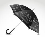 Dekorativt svart paraply. Vektor Arkivbild