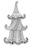 Dekorativt svartvitt julträd i stilen av zentan royaltyfri illustrationer