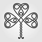 Dekorativt symbol för keltisk treklöver som isoleras på vit bakgrund vektor illustrationer