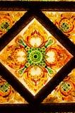 Dekorativt tak för thailändsk konst på templet av Thailand. Arkivbild