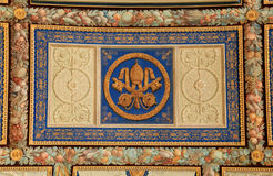 Dekorativt tak i Vaticanenmuseet, Rome, Italien fotografering för bildbyråer