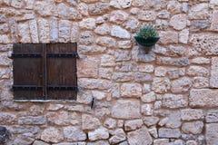 Dekorativt tappningfönster med färgrika växter i krukor Royaltyfri Fotografi