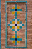 Dekorativt tegelstenarbete, Qazvin, Iran Arkivfoto