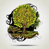 Dekorativt träd för abstrakt vektorgrunge. stock illustrationer