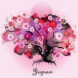 Dekorativt träd med vita blommor royaltyfri illustrationer