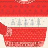 Dekorativt tröjakort för jul - ful partitröja stock illustrationer