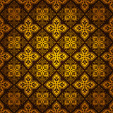 Dekorativt utsmyckat guld- belägger med tegel mönstrar bakgrund Royaltyfri Bild
