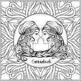 Dekorativt zodiaktecken på modellbakgrund royaltyfri illustrationer