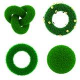 Dekorbeståndsdelar av grönt gräs Arkivfoto