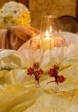 Dekoren blommar guld- exponeringsglas Fotografering för Bildbyråer