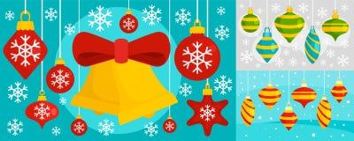 Dekorera uppsättningen för julgranleksakerbanret, plan stil vektor illustrationer